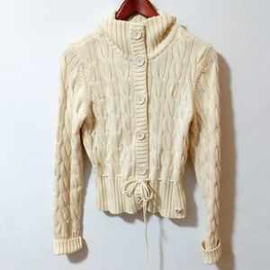 Ralph Lauren Polo Jeans Ivory Cable Knit Cardigan